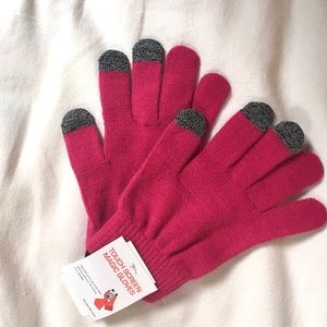 NWT• Pink Touch Screen Magic Gloves